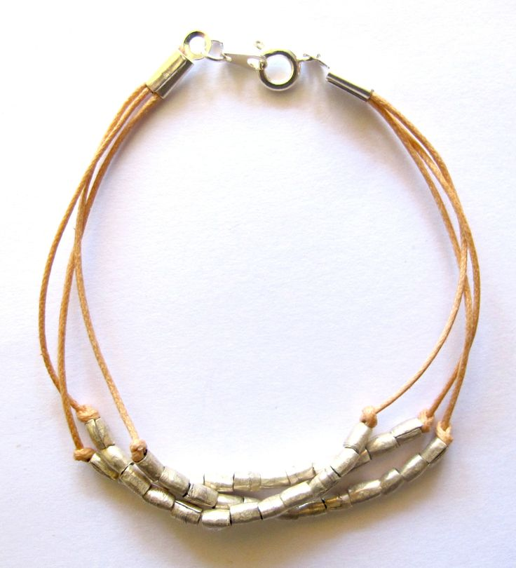 Knotted Bracelet with handmade Ethiopian silver beads :: www.soudesign.co.za ::