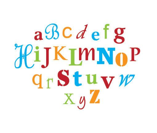 Abc's Decal - Nursery Alphabet - Crazy Fonts - Letters - Multi Colored on Etsy, $38.00