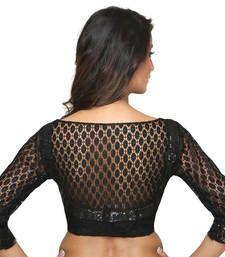 Buy Black lace embroidery  non padded readymade blouse readymade-blouse online