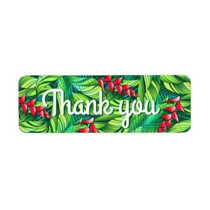 Heliconia tropical floral label - floral style flower flowers stylish diy personalize