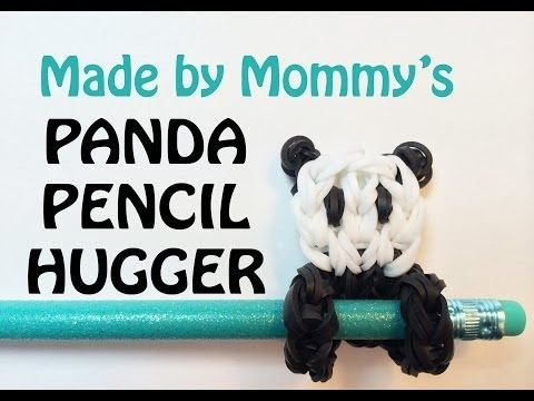Rainbow Loom PANDA BEAR Pencil Hugger. Designed and loomed by Made By Mommy. Click photo for YouTube tutorial. 04/25/14.