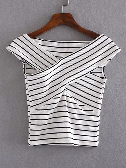Black And White Striped Crisscross Front Crop T-shirt.