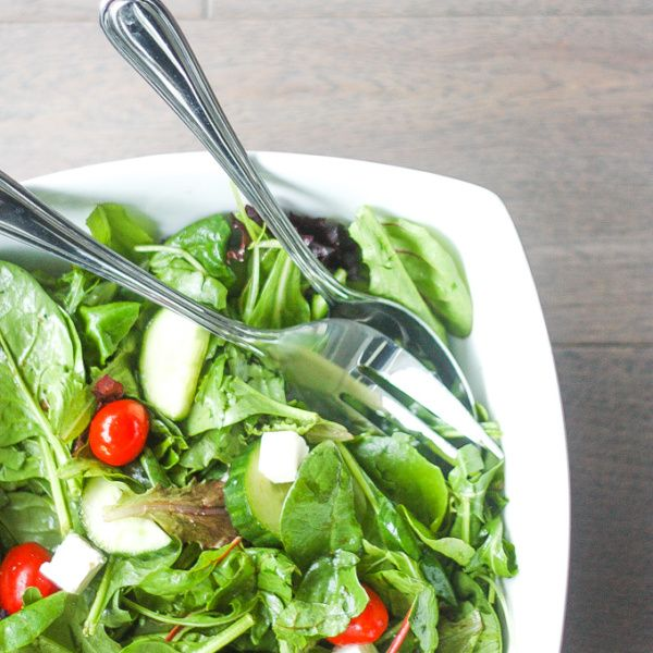 Mixed Greens Salad with Feta Cheese: When I want to make a quick and easy salad, this mixed greens salad with feta is my go-to recipe. It makes a great side dish at dinner or a light lunch | aheadofthyme.com