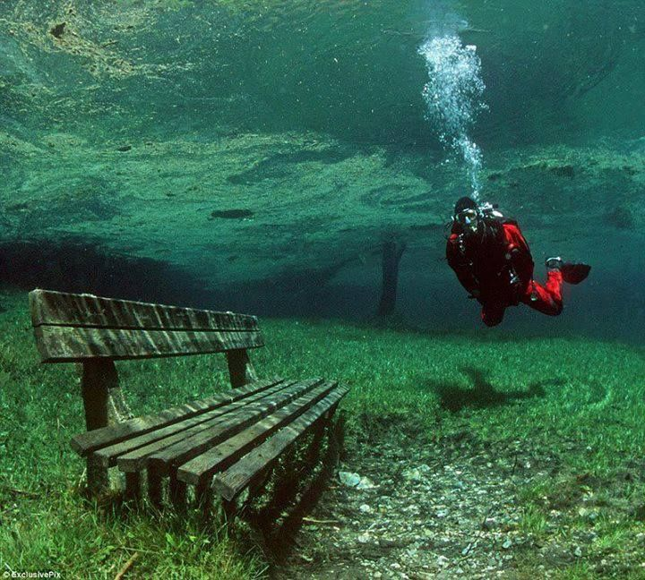 There is a place in Austria that is a dry park in the Winter, and a 10m deep lake in the summer!  Located at the foot of the Hochschwab Mountains, in Tragoess, Styria, Green Lake is one of the most bizarre natural phenomena in the world. #bucketlist