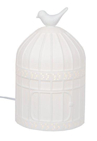 Lampa Ceramiczna Duża Klatka Z Ptaszkiem