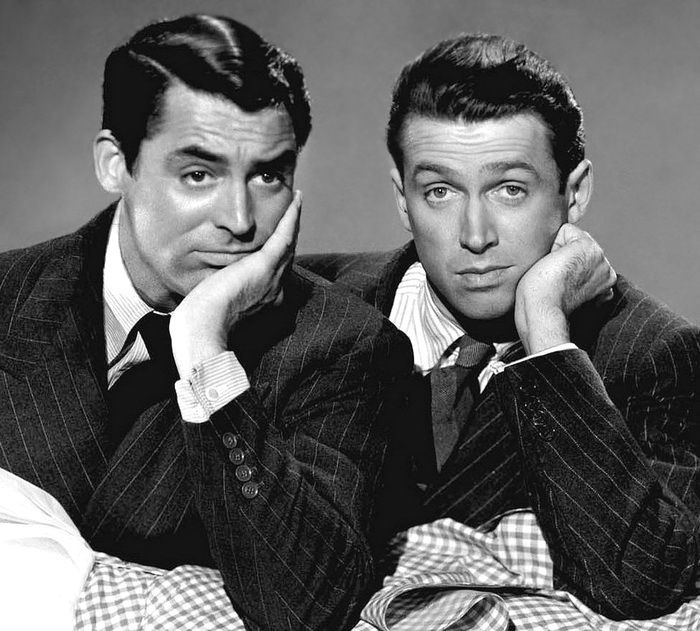 Cary  Grant and Jimmy Stewart, uploaded by www.1stand2ndtimearound.etsy.com