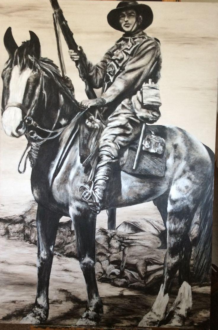 """Australian Bushman, Boer War 1902"" acrylic on canvas. Paula Benson, Benson Artworks 2016."