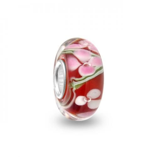 Red Clover Murano Glass Bead Compatible with Pandora Beads and Bracelets