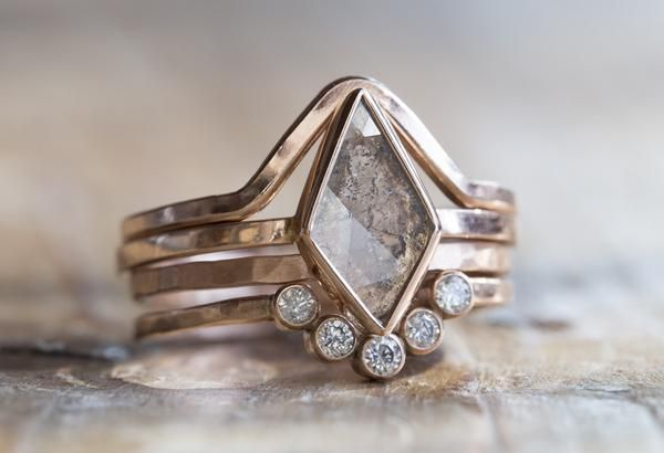 geometric diamond engagement ring + wedding bands  ::  Alexis Russell