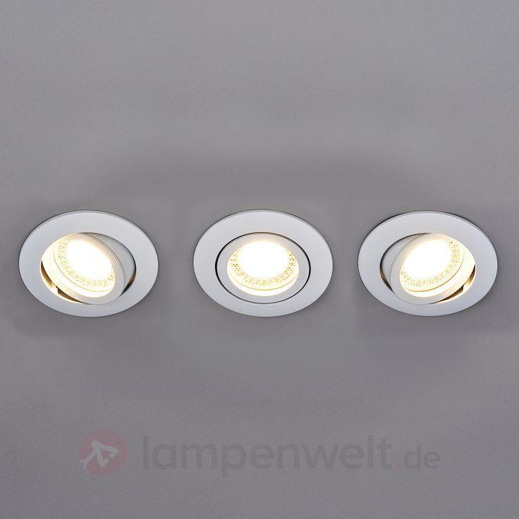 Runde LED-Einbaustrahler Lisara in Weiß, 3er-Set sicher & bequem online bestellen bei Lampenwelt.de.