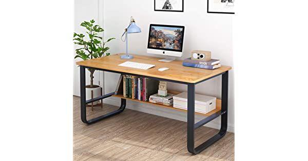 Negro /& Negro 60 cm con estantes Mesa de Escritura de Postes de Trabajo para el hogar y la Oficina DlandHome Escritorio de Madera de 120