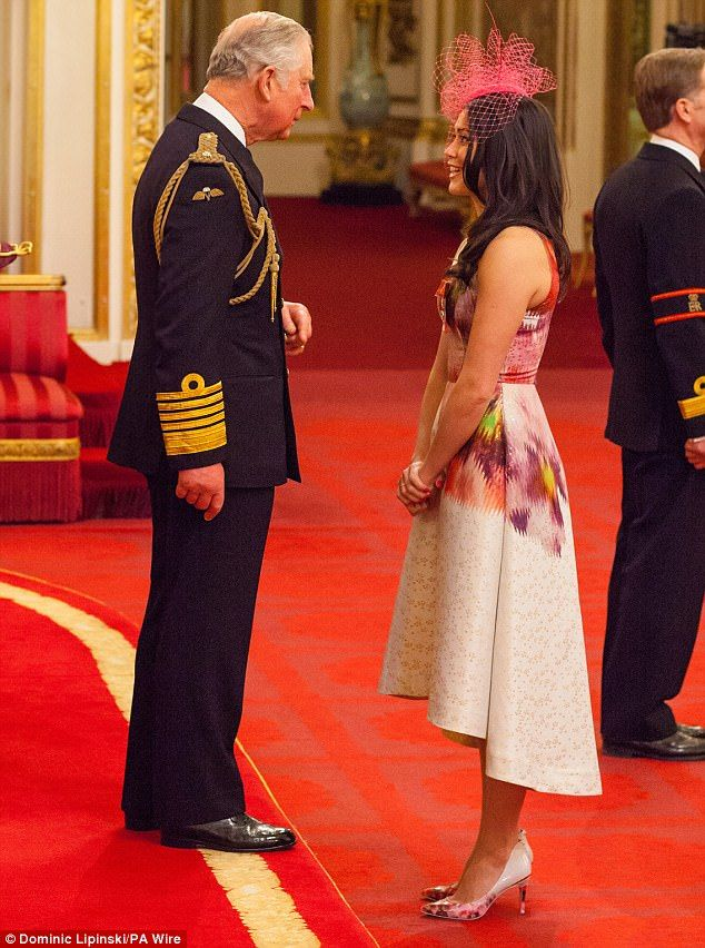 Honoured:Olympic hockey player Sam Quek was also made an MBE at the ceremony at Buckingha...