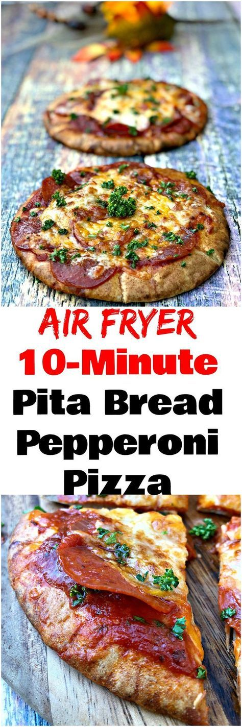 Air Fryer 10-Minute Whole Wheat Pita Bread Pepperoni Pizza is a quick and easy healthy recipe with a crispy crust that is perfect for weeknight dinners and an on-the-go lifestyle. This recipe only uses 5 ingredients including marinara pizza sauce, gooey m