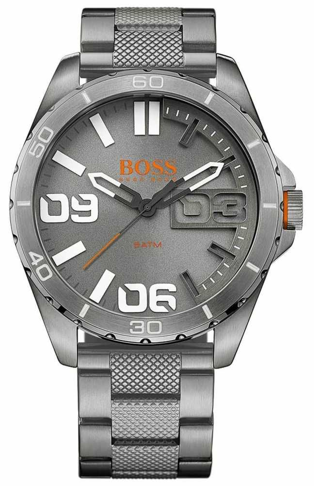 Hugo Boss Orange 1513289 - In stock. This is a Hugo Boss Orange Berlin Men's Watch in a matte gunmetal grey colour. It has a grooved textured bracelet and embossed bezel, it also features multiple layered grey and white dial with orange detailing and oversized numerals, encompassed in an impressive design.. Official Hugo Boss Orange UK retailer. The Hugo Boss Orange 1513289 comes with free delivery, 2 year guarantee, 30 day returns and box.