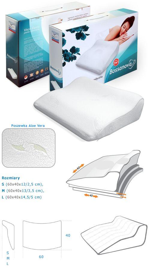 """BOSSANOVA - poduszka ortopedyczna Bossanova to połączenie najwyższego komfortu snu oraz wysokiej jakości wykonania. Jest to poduszka o specjalnym wyprofilowaniu, które umożliwia sen we wszystkich pozycjach, również w pozycji """"na brzuchu"""". Specjalna technologia wykonania – poduszka jest wylewana do formy – znacznie poprawia walory użytkowe pianki, dodatkowo poduszka posiada delikatnie profilowane wgłębienia na ramię oraz głowę."""