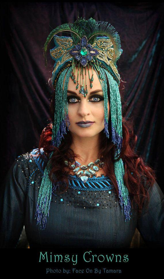 Made To Order Blue Fantasy Peacock Flapper Eygption Cleopatra costume Belly dance Art Nouveau Queen Princess Tiara headdress headpiece crown