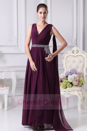 V Neck Watteau Train A-Line Dress with Beading Ruffles - OCCASION DRESSES