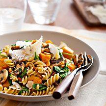 Pumpkin and spinach pasta