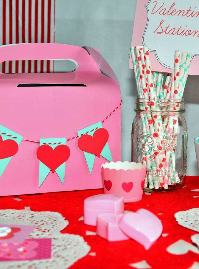 Make a fun craft station for all the kids' Valentine's Day projects. | easy kids crafts