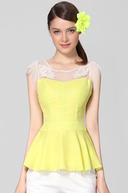ROMWE   Flouncing Hem Pleated Yellow Blouse, The Latest Street Fashion#ROMWEROCOCO