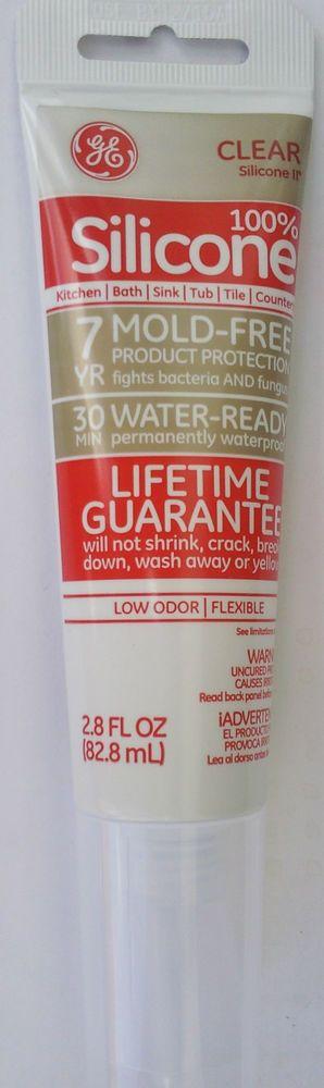 GE CLEAR SILICONE II  Kitchen Bath Sink Tile Sealant 2.8 oz Tube #GE