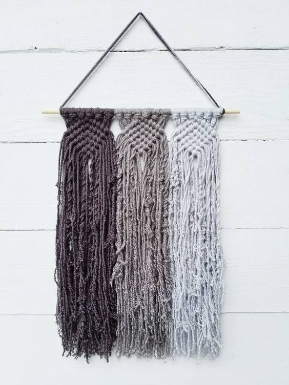Custom Macrame Wall Hanging, Choose 3 Colors, Modern Minimalist Boho Woven Wall Decor, College Dorm Decorations, Christmas Gifts Under 30 by TheWiseFiberCompany on Etsy https://www.etsy.com/listing/527957490/custom-macrame-wall-hanging-choose-3