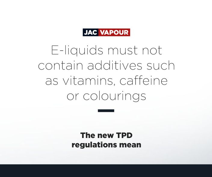 The #TPD means that #eliquids must not contain additives such as vitamins, caffeine or colourings. #ecig #ecigs #vaping #regulations