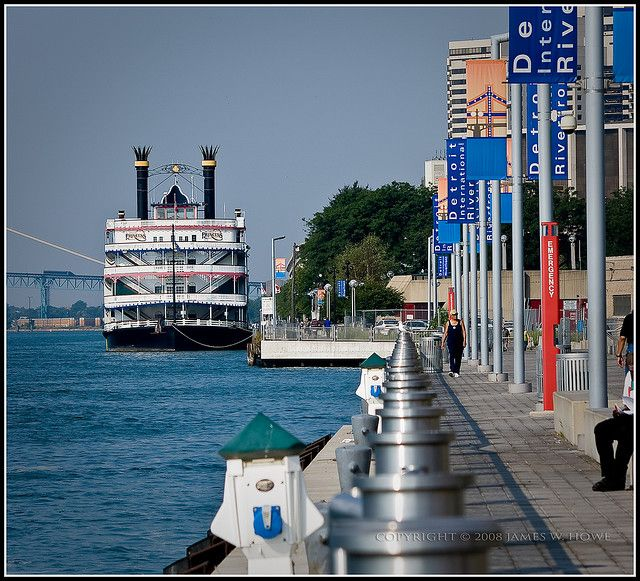 A shot from the Detroit Riverwalk, just down from Hart Plaza. You can see the Detroit Princess (the old-school steam boat) too!