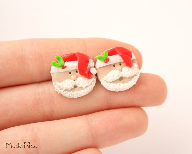Santa Claus Polymer Clay Earrings #polymerclay #earrings #santaclaus