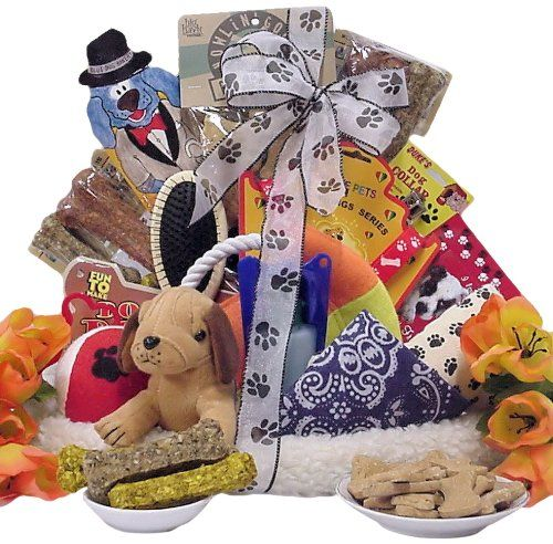 Treat your dog to this extravagant gift basket and he'll jump for joy.