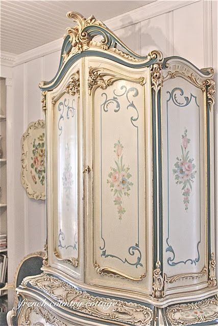 FRENCH COUNTRY COTTAGE: This Armoire Is A Bit Too Ornate For My Taste, But  I Do Love The Way The Doors And Side Panels Are Painted.