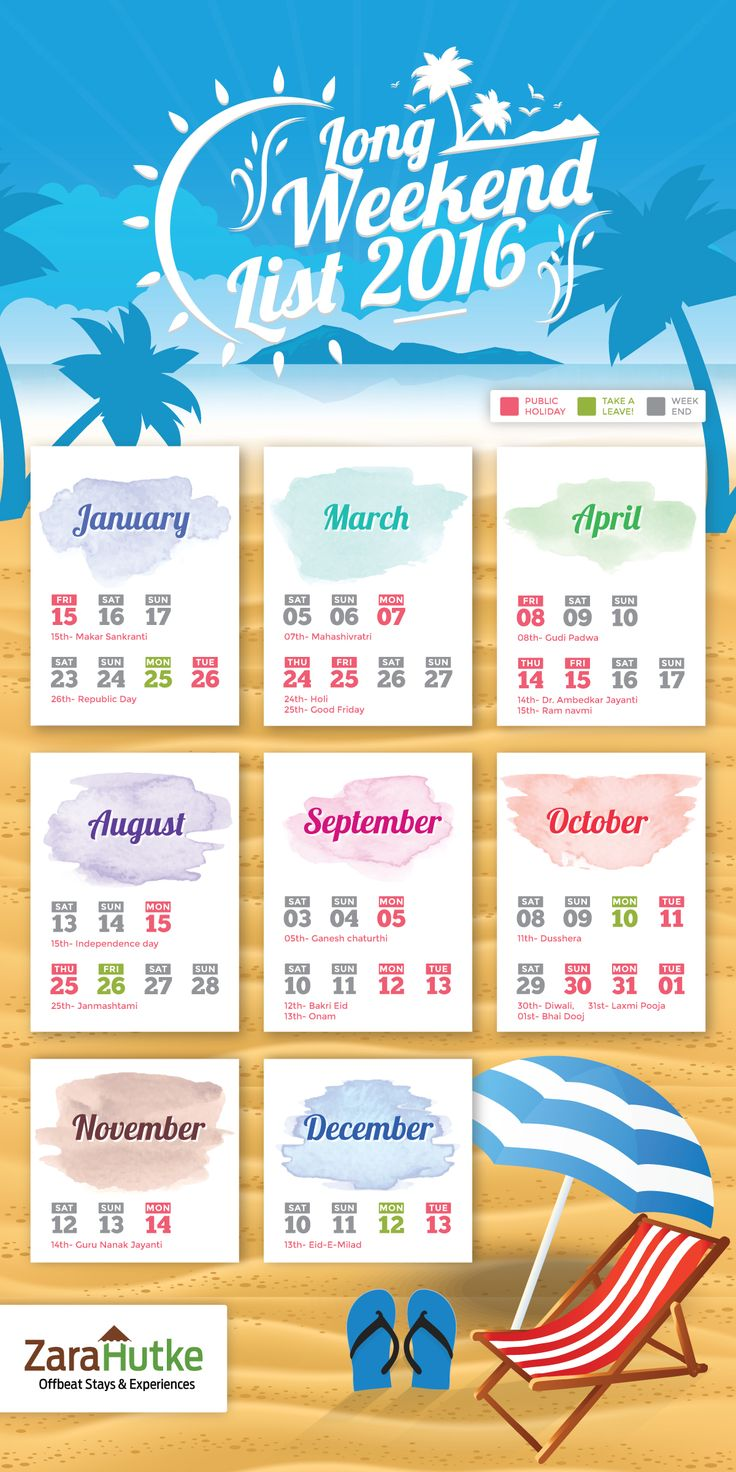 Long Weekend List For 2016 (Infographic) - Plan Your Trip Now