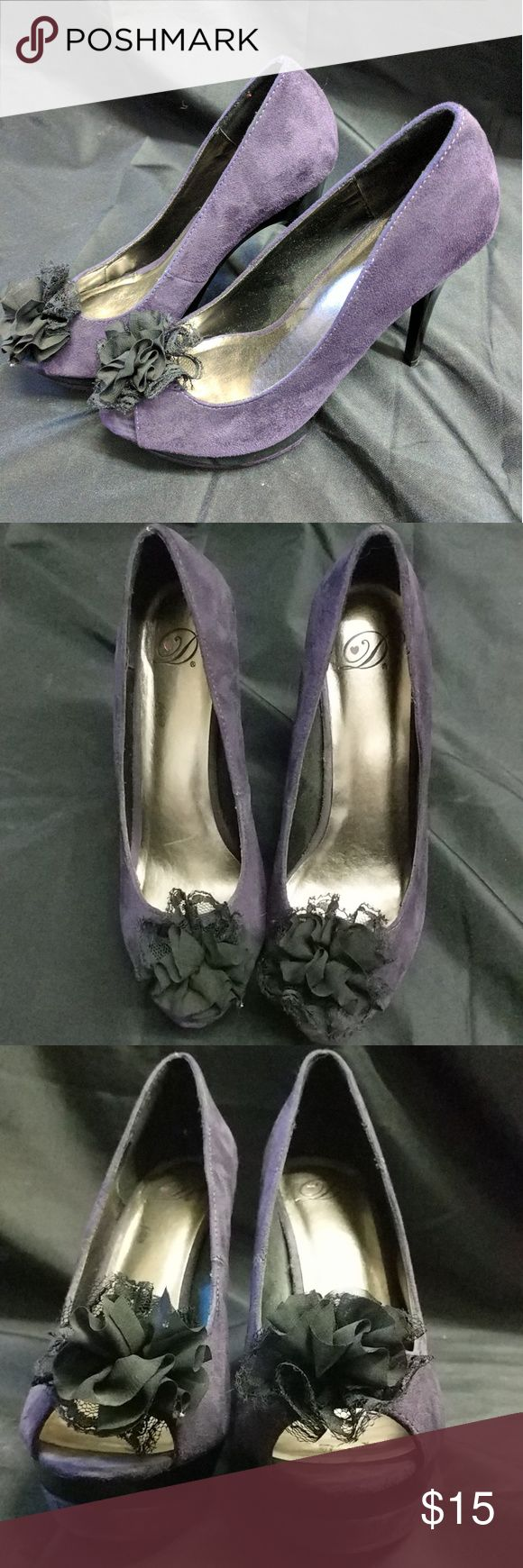 Purple Faux Suede Peep Toe Pumps These heels have only been worn once. They look brand new. They feature a purple faux suede fabric, a black lace flower details, and open toes. Shoes Heels