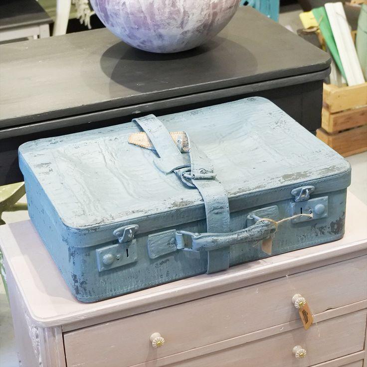 Härlig koffert i sliten stil, Blå