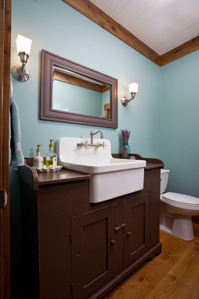 Farmhouse Utility Sink Bathroom Farmhouse with Blue Wall Brow Painted