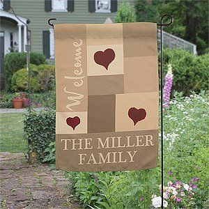 Personalized Family Garden Flag - Loving Hearts . $19.95. Add a unique, distinctive finish to your front yard or garden with our Loving Hearts Personalized Garden Flag.Our exclusive design features any name or names and any greeting mixed with welcoming hearts! Design is printed on a removable flag so you can replace with other designs, as desired. Choose to purchase the flag alone to be interchanged or add our optional garden flag stand (sold separately below).Ideal as a speci...