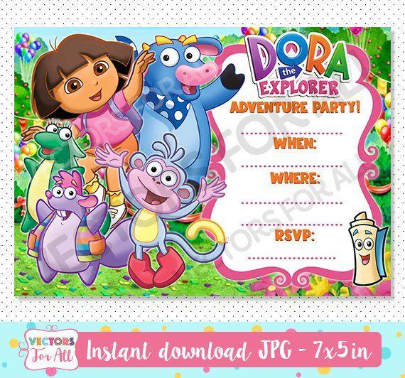 Blank Custom Dora Cheap Birthday Invitations Cards Cheap Birthday Invitations Party Invite Template Invitation Card Birthday