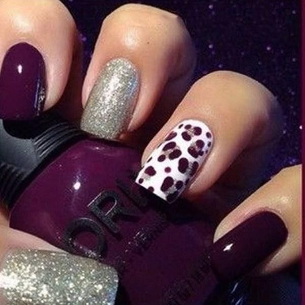 The 25 best leopard print nails ideas on pinterest leopard dark purple and silver nail art with cheetah prints design prinsesfo Image collections