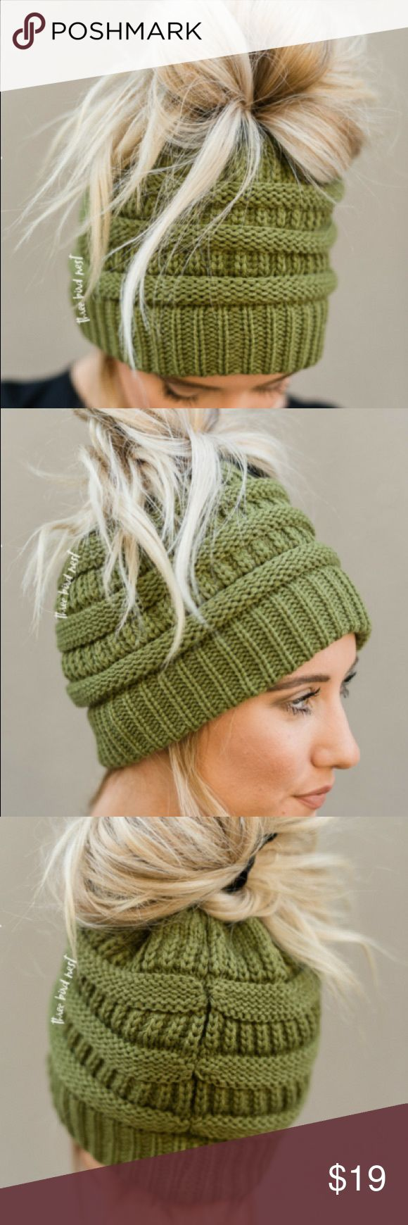 NWT Olive Messy Bun Ponytail CC C.C. Knit Beanie Messy bun/ponytail lovers and beanie wearers UNITE. You can now wear a messy bun or ponytail and a beanie all at the same time! Super cute and perfectly cozy this marled knitted acrylic yarn beanie with an elastic opening to pull your messy bun or ponytail through is a cold weather staple and answer to bad hair days. 50% Cotton, 50% Acrylic Accessories Hats