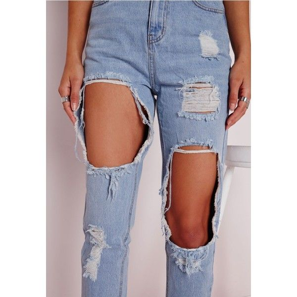 Extreme Rip Mom Jeans Bleached Blue Jeans ❤ liked on Polyvore featuring jeans, destruction jeans, ripped jeans, torn jeans, distressed jeans and destroyed jeans