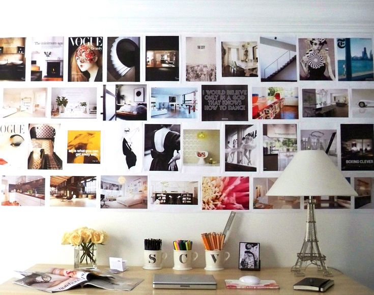 I love the boldness to pin magazines straight to the wall this side of college.  pin board ideas
