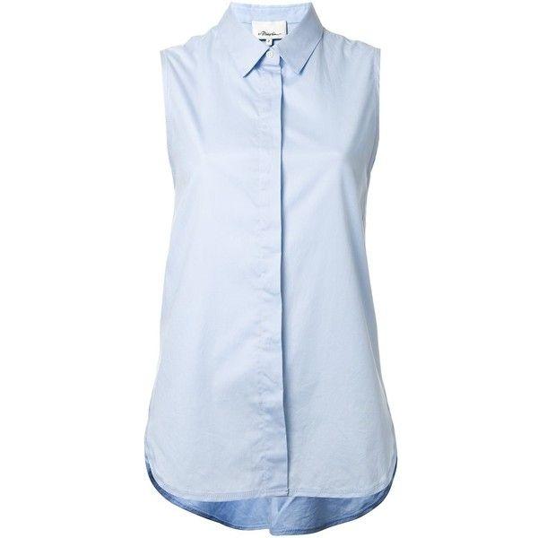 3.1 Phillip Lim sleeveless shirt featuring polyvore, women's fashion, clothing, tops, blue, 3.1 phillip lim, placket shirt, sleeveless collared shirt, curved hem shirt and 3.1 phillip lim top