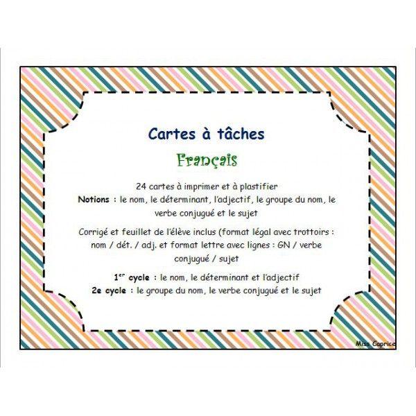 Cartes à tâches - Français