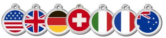 Jetzt gibt´s die Red-Dingo-Marken auch mit 7 Nationalflaggen in jeweils 3 Größen. (nur auf Bestellung)