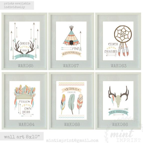 Modern Tribal Nursery Print Set by Mint Imprint - Printable and Printed Decor  We currently offer a 4 for 3 promotion on Prints.  Specs: - Finish: