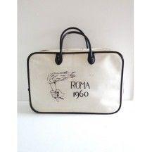 Sac Jeux Olympiques de Rome 1960 blanc et noir vintage authentique #sac #JO #Rome #jeux #olympiques #1960 #blanc #noir #authentique #sport