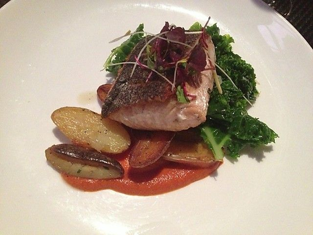 Pure Spirits Oyster House. Salmon with Romesco Sauce #summerlicious