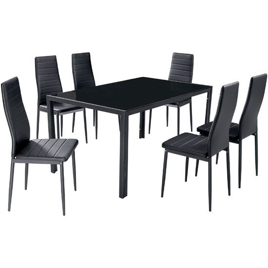 Hattan Black Glass Dining Table And 6 Dining Chairs