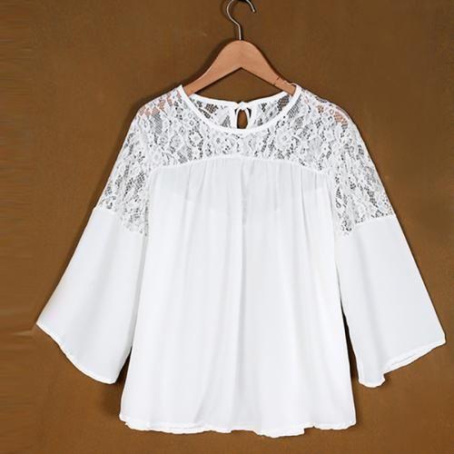 Women Fashion Loose Long_Sleeve Chiffon Casual Lace Top Blouse Tee Shirt Pullover Jumper Soft T-shirt