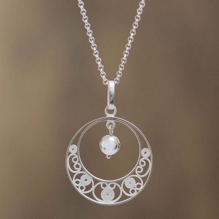 Peruvian Sterling Silver Filigree Necklace - Junin Glam | NOVICA